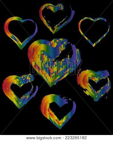 A set of rainbow hearts. The concept of freedom to choose a partner for relationships, homosexuality. Badges of relations between two women and two men