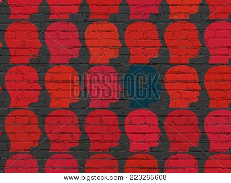 Business concept: rows of Painted red head icons around blue head with light bulb icon on Black Brick wall background