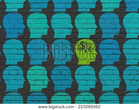 Business concept: rows of Painted blue head icons around green head with finance symbol icon on Black Brick wall background