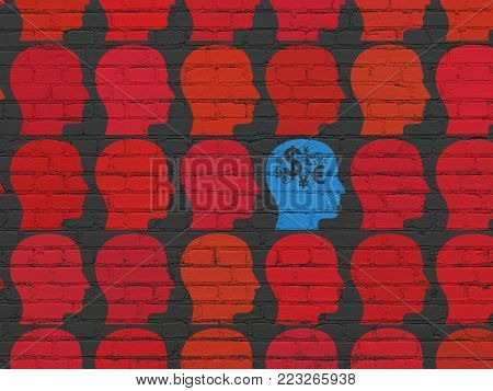 Finance concept: rows of Painted red head icons around blue head with finance symbol icon on Black Brick wall background