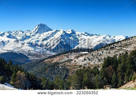 a Pic du Midi de Bigorre in the french Pyrenees with snow