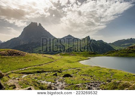 a view of the Pic du Midi d'Ossau in the French Pyrenees