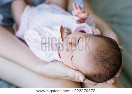 mother unity newborn baby love concept. one whole. tenderness and care