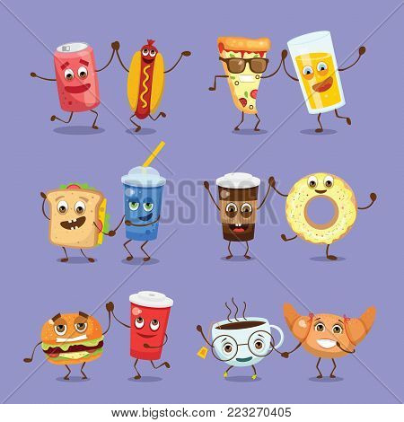 Cartoon funny friends fast food - croissant, cupcake, glass of juice and pizza, hamburger, donut and a cup of tea and coffee with emotions.