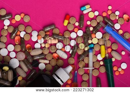 Diseases And Medicine Concept. Set Of Colorful Pills