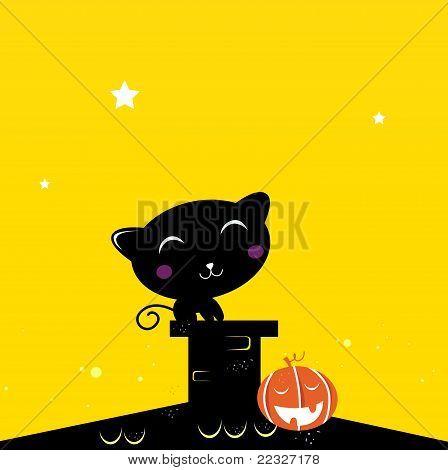 Silhueta de gato preto Halloween no telhado durante a noite escura.