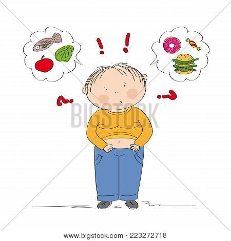 Dubious fat boy thinking of food, trying to decide what to eat - whether healthy or unhealthy food - original hand drawn illustration
