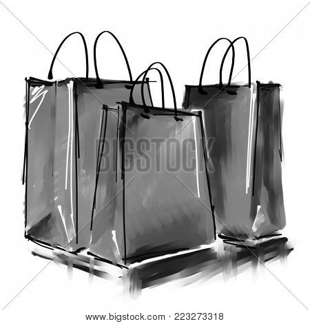 art digital acrylic and watercolor painted three grey shopping bags isolated on white background with space for text and label; monochrome black and white 3d