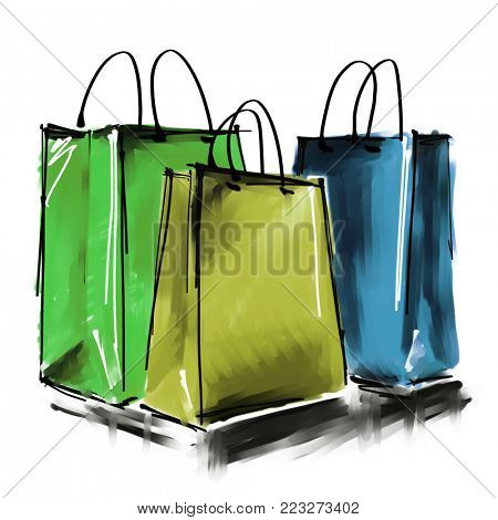 art digital acrylic and watercolor painted three colorful shopping bags isolated on white background with space for text and label; colorful 3d