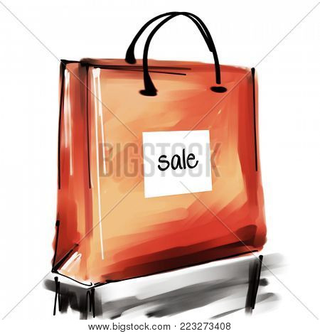 art digital acrylic and watercolor painted one monochrome orange red shopping bag isolated on white background with label Sale; colorful 3d graphic