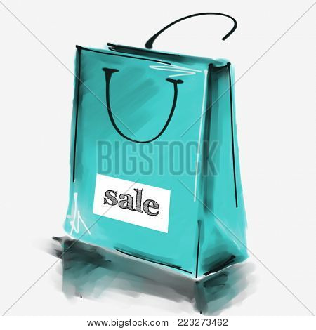 art digital acrylic and watercolor painted one monochrome blue shopping bag isolated on white background with label Sale; colorful 3d graphic