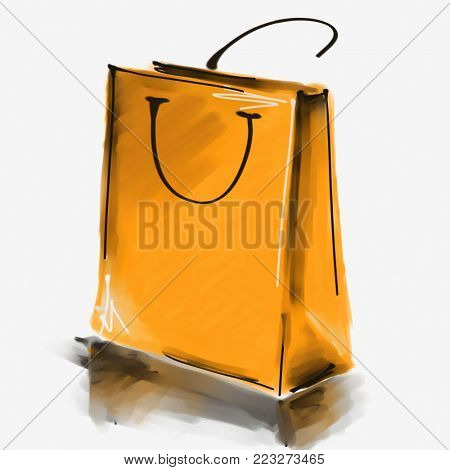 art digital acrylic and watercolor painted one monochrome orange shopping bag isolated on white background with space for text and label; colorful 3d graphic