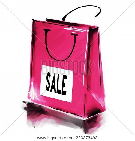 art digital acrylic and watercolor painted one monochrome pink rose shopping bag isolated on white background with label Sale; colorful 3d graphic