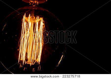 vintage hot tungsten filament light bulb lighting core wire