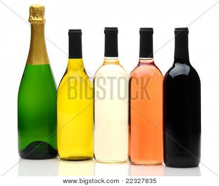 A group of five wine and champagne bottles on a white background. Bottles have no labels and reflection in foreground.