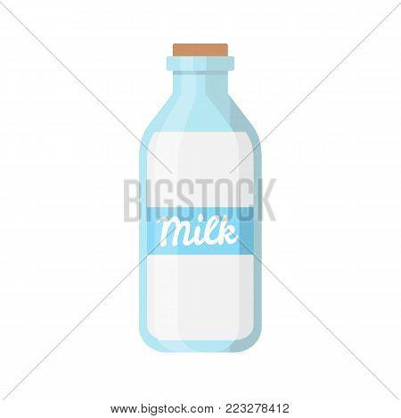 Milk bottle isolated on white background. Bottle of milk icon. Vector stock.