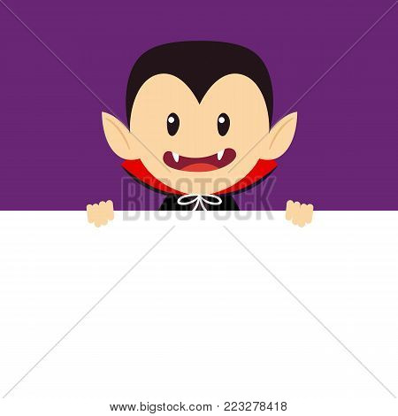 Vampire character holding empty blank signboard banner.Halloween concept. Vector stock.