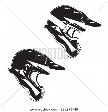 Vector side view illustration of race motorcycle, hovering motorcycle rider protective gear. Helmet single and helmet with goggles black templates. Flat style design.