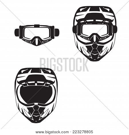 Vector illustration of race motorcycle, hovering motorcycle protective gear. Motorcycle riding or race helmet and goggles black templates, flat style design.