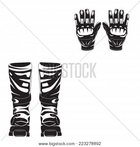 Vector illustration of race motorcycle, hovering motorcycle boots and gloves. Elements of motorcycle suit black templates isolated on white background.