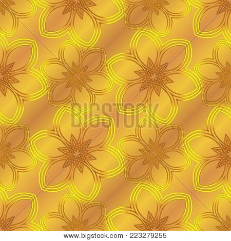 Gold metallic regular seamless pattern.  Metal foil with pattern. Glossy metal surface. Shiny metal. Gold metallic regular seamless pattern. Shiny metallic surface with pattern of flower.