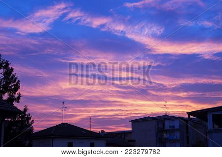 Sunset Light Over The Town, Horizontal Image