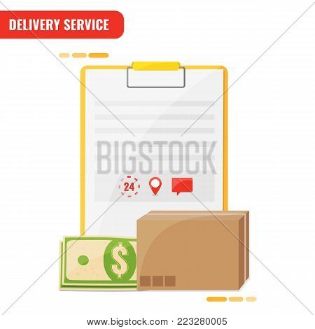 Delivery service, receiving order concept. Blank with cash and box. Express delivery courier service. Vector illustration.