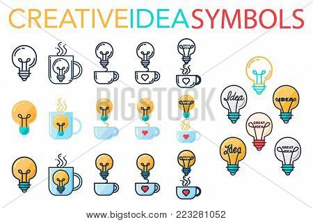 Simple Creative Success Idea Logo Set. Innovation symbol. Light bulb and cup. Design element for business startup, technology, science. Icon concept of invention, imagination and creativity. Vector