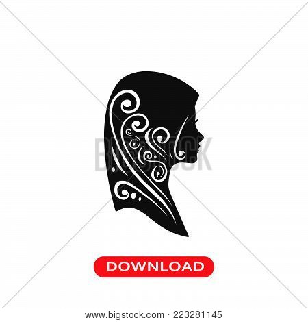 Woman with Hijab icon vector in modern flat style for web, graphic and mobile design. Woman with Hijab icon vector isolated on white background. Woman with Hijab icon vector illustration, editable stroke and EPS10. Woman with Hijab icon vector simple symb