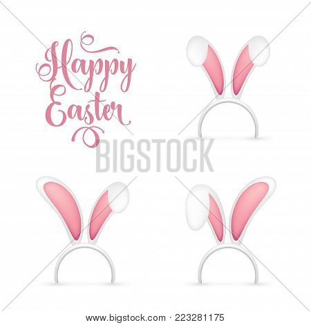 Easter Bunny Ears. Pink and White Mask with Rabbit Ear. Spring Seasonal Cute Hat. April, March Holidays.