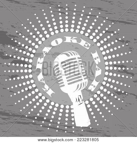 Karaoke music club, bar, audio record studio vector logo with microphone on vintage. vektor