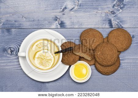English Tea And Bakery Concept. Oatmeal Biscuits