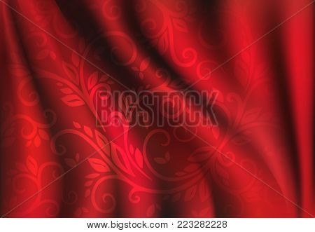 Red Silk Backgrounds. Drapery Textile Background, Vector Illustration