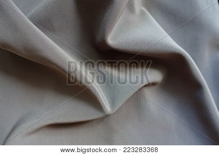 Rippled dark grey viscose, cotton and polyester fabric