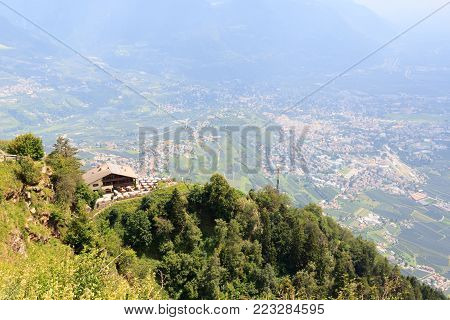 Mountain Inn Hochmuth and village Tirol and Merano panorama in South Tyrol