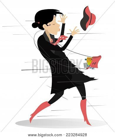 Windy day and young woman isolated illustration. Young woman with a fancy bag tries to catch a hat gone with the wind isolated on white illustration