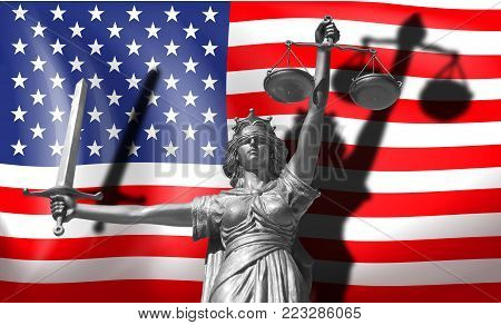 Cover about Law. Statue of god of justice Themis with Flag of USA background. Original Statue of Justice. Femida, with scale, symbol of justice with USA flag 3d rendering.