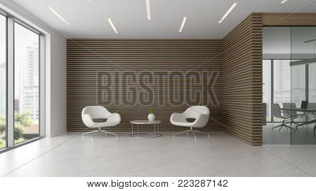 Interior of reception and meeting room 3D illustration
