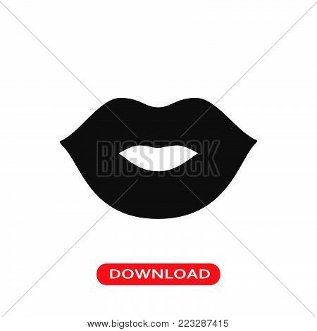 Woman lips icon vector in modern flat style for web, graphic and mobile design. Woman lips icon vector isolated on white background. Woman lips icon vector illustration, editable stroke and EPS10. Woman lips icon vector simple symbol for app, logo, UI.