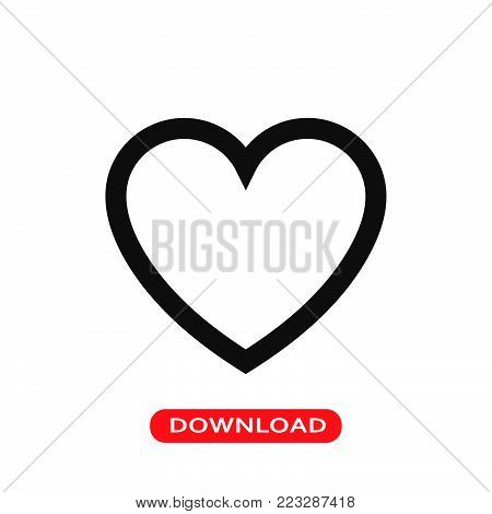 Like heart icon vector in modern flat style for web, graphic and mobile design. Like heart icon vector isolated on white background. Like heart icon vector illustration, editable stroke and EPS10. Like heart icon vector simple symbol for app, logo, UI.