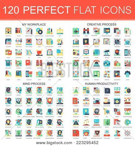 120 vector complex flat icons concept symbols of my workplace, creative process, mind process, human productivity. Web infographic icon design