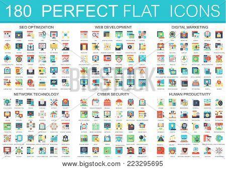 180 vector complex flat icons concept symbols of seo optimization, web development, digital marketing, network technology, cyber security, human productivity. Web infographic icon design