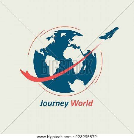 The plane flies around the globe, leaving behind a red line. The logo symbolizes the travel company.