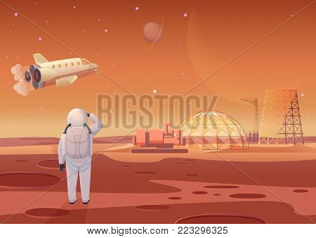 Vector illustration of astronaut standing at Mars colony and looking at flying spaceship