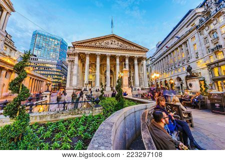 LONDON, UNITED KINGDOM - OCTOBER 26: Evening view of the Royal Exchange and bank of England in the Bank financial district area on October 26, 2017 in London