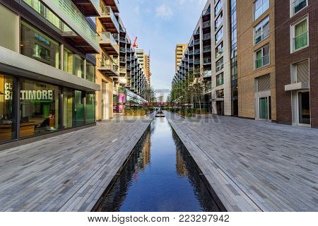 LONDON, UNITED KINGDOM - OCTOBER 07: This is a view of modern apartment buildings situated in the South Quay office area of Canary Wharf on October 07, 2017 in London