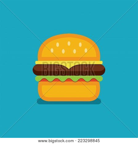 vector hamburger fast food icon. colorful cheeseburger symbol. sandwich with bread, cheese, beef, tomato and lettuce. flat graphic design of a burger, eps10 illustration
