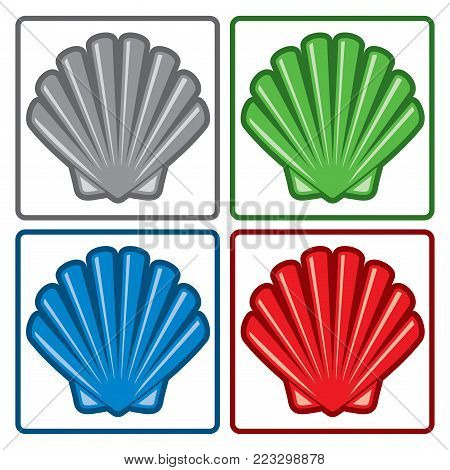 vector sea shell icons isolated on white background. yellow, red, blue and gray seashell symbols. colorful collection of ocean scallop animal pictogram. simple flat style graphic of seashells