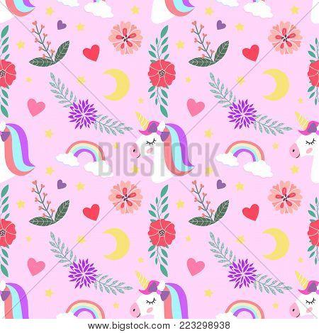 Cute unicorn, princess concept, girl beauty seamless pattern isolated on pink background. Vector cartoon design. Magic unicorn, heart, rainbow, stars, flowers, Pop style