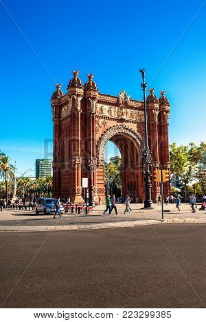 Barcelona, Spain - September 14, 2017: Triumph Arch of Barcelona in a summer day. Famous triumphal arch in the city of Barcelona in Catalonia, Spain,   built, by architect Josep Vilaseca i Casanovas
